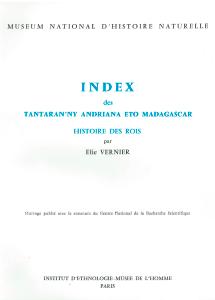 Index des Tantaran'ny Andriana Eto Madagascar